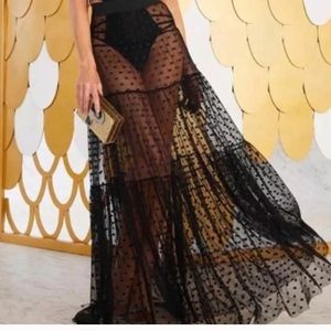 Who What Wear Boho Sheer Mesh Full Lace Long Dress